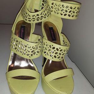 Dollhouse Neon Green Platform Heels